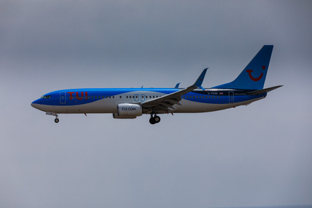 16: ARECIFE, SPAIN - APRIL, 16 2017: Boeing 737-800 of TUI with the registration G-FDZB landing at Lanzarote Airport Editorial