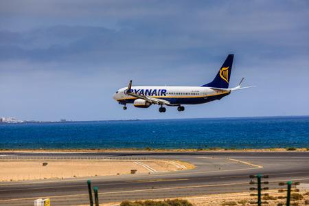 ARECIFE, SPAIN - APRIL, 15 2017: Boeing 737-800 of RYANAIR with the registration EI-ENP landing at Lanzarote Airport Editöryel