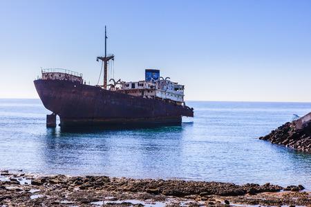Old shipwrecks located in the seashore in Arrecife.