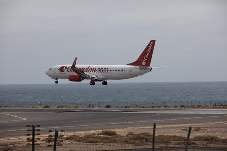 april 15: ARECIFE, SPAIN - APRIL, 15 2017: Boeing 737 - 800 of Corendon.com at Lanzarote Airport Editorial