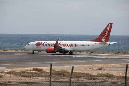 off course: ARECIFE, SPAIN - APRIL, 15 2017: Boeing 737 - 800 of Corendon.com ready to take off at Lanzarote Airport Editorial