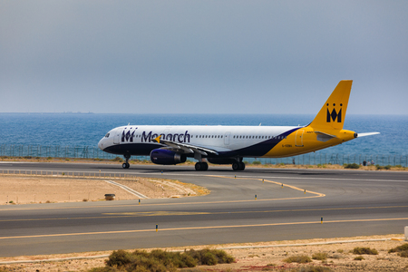 ARECIFE, SPAIN - APRIL, 16 2017: AirBus A321 of Monarch Airlines with the registration G-OZBU ready to take off at Lanzarote Airport