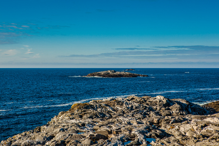 sund: Coastal Landscape with views of the sea and blue sky on the west coast of Norway Stock Photo