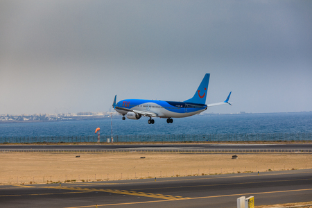 ARECIFE, SPAIN - APRIL, 16 2017: Boeing 737-800 of TUI with the registration G-FDZB landing at Lanzarote Airport Editöryel
