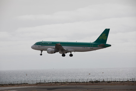 april 15: ARECIFE, SPAIN - APRIL, 15 2017: AirBus A320 of Aer Lingus at Lanzarote Airport