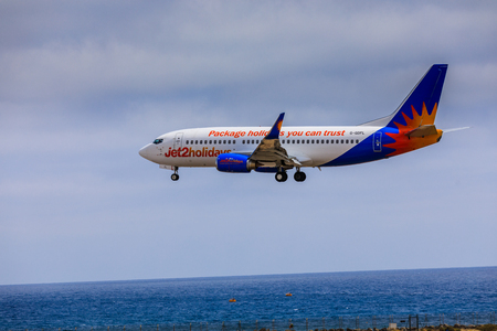 ARECIFE, SPAIN - APRIL, 15 2017: Boeing 737-300 of Jet2holidays with the registration G-GDFL landing at Lanzarote Airport