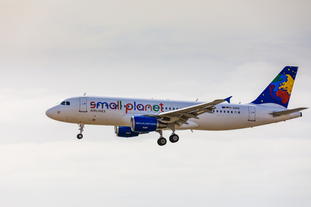 ARECIFE, SPAIN - APRIL, 15 2017: AirBus A320 of small planet with the registration D-ASPG landing at Lanzarote Airport Editorial