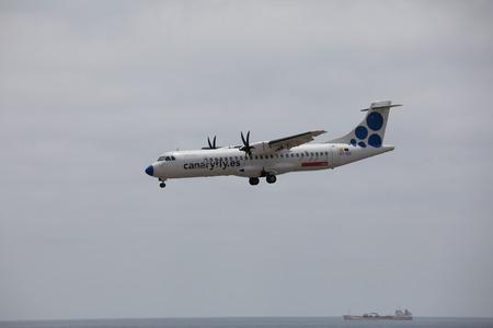 ARECIFE, SPAIN - APRIL, 15 2017: ATR 72 of CANARYFLY.es landing at Lanzarote Airport