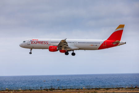 ARECIFE, SPAIN - APRIL, 15 2017: AirBus A321 of IBERIA with the registration EC-JOM landing at Lanzarote Airport