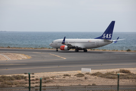 ARECIFE, SPAIN - APRIL, 15 2017: Boeing 737-700 of SAS ready to take off at Lanzarote Airport
