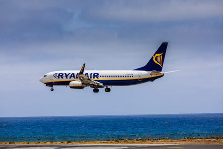 ARECIFE, SPAIN - APRIL, 15 2017: Boeing 737-800 of RYANAIR with the registration EI-ENP landing at Lanzarote Airport Editorial