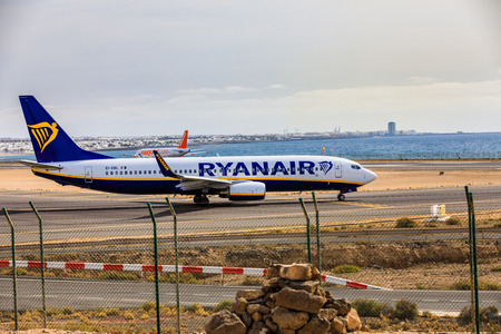 ARECIFE, SPAIN - APRIL, 15 2017: Boeing 737-800 of RYANAIR with the registration EI-EBL ready to take off at Lanzarote Airport