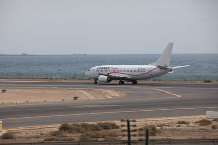 ARECIFE, SPAIN - APRIL, 15 2017: Boeing 737 - 300 of COBREX Trans ready to take off at Lanzarote Airport