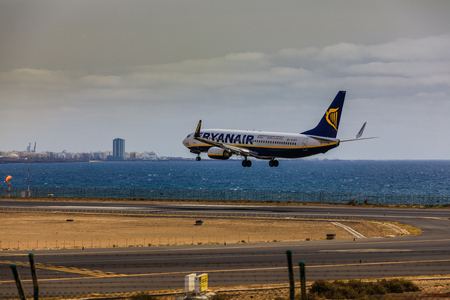 ARECIFE, SPAIN - APRIL, 15 2017: Boeing 737-800 of RYANAIR with the registration EI-EFY landing at Lanzarote Airport Editorial
