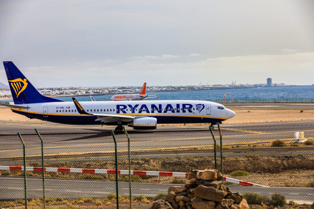 april 15: ARECIFE, SPAIN - APRIL, 15 2017: Boeing 737-800 of RYANAIR with the registration EI-EBL ready to take off at Lanzarote Airport