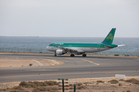 ARECIFE, SPAIN - APRIL, 15 2017: AirBus A320 of Aer Lingus ready to take off at Lanzarote Airport