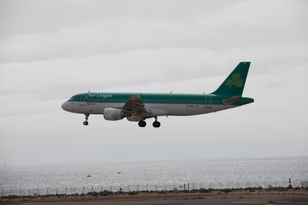 ARECIFE, SPAIN - APRIL, 15 2017: AirBus A320 of Aer Lingus at Lanzarote Airport