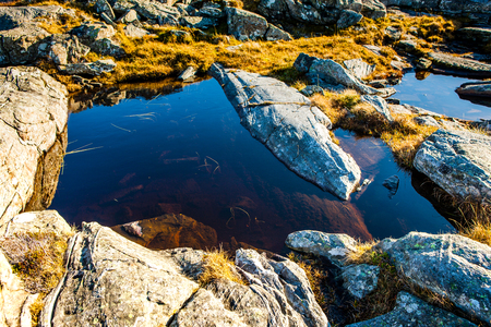 sund: Small ponds on the rocks against the sea in Sund west in Norway.