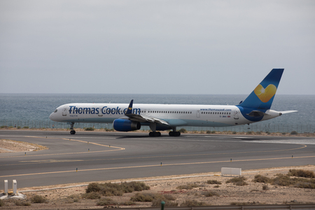 ARECIFE, SPAIN - APRIL, 15 2017: Boeing 757 - 300 of Thomas Cook ready to take off at Lanzarote Airport