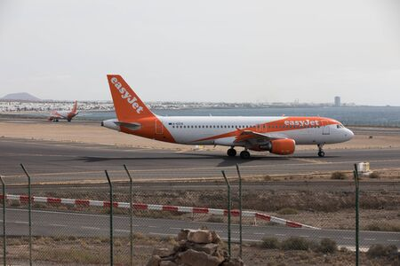 off course: ARECIFE, SPAIN - APRIL, 15 2017: AirBus A320 - 200 of easyjet ready to take off at Lanzarote Airport