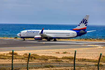 ARECIFE, SPAIN - APRIL, 15 2017: Boeing 737 - 800 of SunExpress with the registration D-ASXR ready to take off at Lanzarote Airport