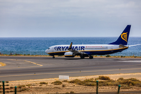 ARECIFE, SPAIN - APRIL, 15 2017: Boeing 737-800 of RYANAIR with the registration EI-EBN ready to take off at Lanzarote Airport