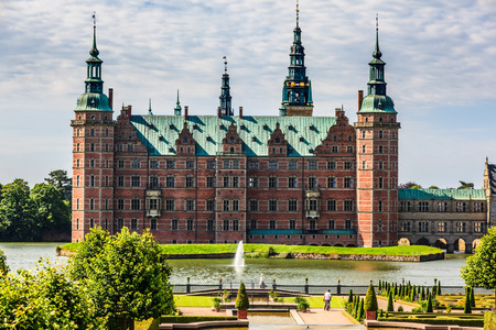 The majestic castle Frederiksborg Castle seen from the beautiful park area,