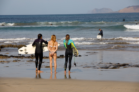 Surf Beach Famara on Lanzarote.