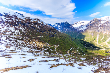 A winding and narrow road providing access to the mountain in Stryn.