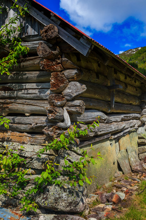 hardanger: An old building of an old notched seals in beautiful natural surroundings.