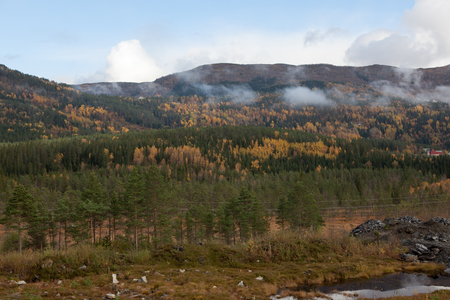 Beautiful autumn landscape on western Norway 版權商用圖片