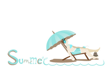 teenage girl bikini: Hand drawing lettering text Summer. Girl with headphones listening to music with a cocktail and sit in a deck chair. Relaxation and recreation. Under turquoise umbrella.