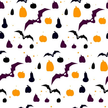 Seamless pattern with pumpkin silhouette and flying bat, dark color. Happy Halloween. Sample in file. Vector illustration.
