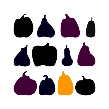 Set of twelve pumpkin silhouette. Dark stamp of squash. Happy halloween. Vector illustration, isolated on white background.
