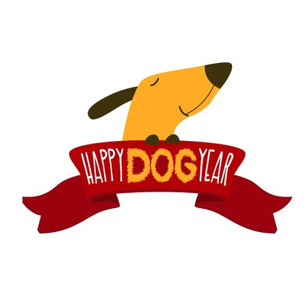 Happy new year, Chinese year of the yellow dog, 2018. Cute puppy with the ribbon and inscription. Vector illustration, isolated. Illustration