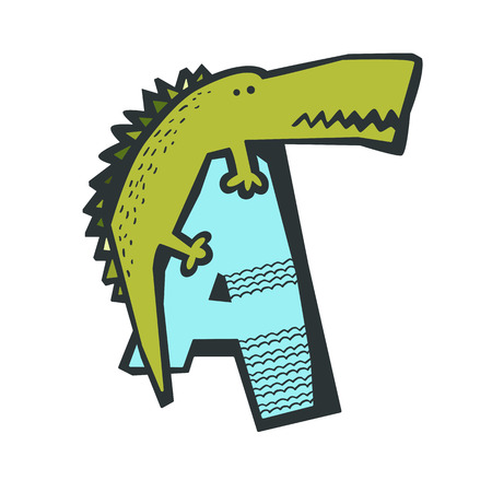 Cute Cartoon Alligator On Top Of Letter A Isolated In White Animal Alphabet For