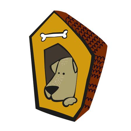 Cute cartoon dog inside the dog house isolated on white. Cute animal alphabet for ABC book.