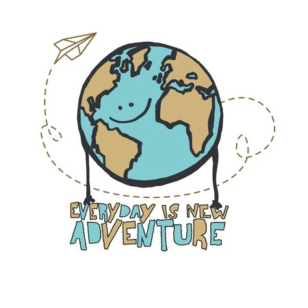 Paper airplane flying around planet with Everyday is new adventure vector illustration, isolated. Illustration