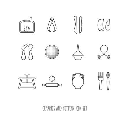 A set of icons of ceramics and pottery. Linear graphic isolated on white background. Vector illustration. Vektoros illusztráció