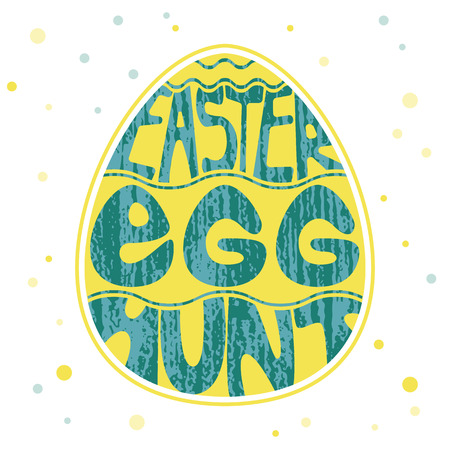 Colored and textured lettering design. Easter egg hunt inscription on egg silhouette isolated on white. Illustration
