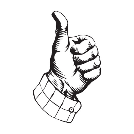 Thumb up hand icon, engraving, retro style. Finger up sign, like icon, vector illustration isolated on white background.