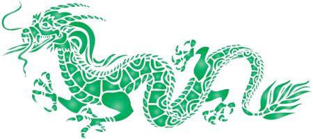 un semplice disegno di un drago in stile giapponese Archivio Fotografico - 4428157