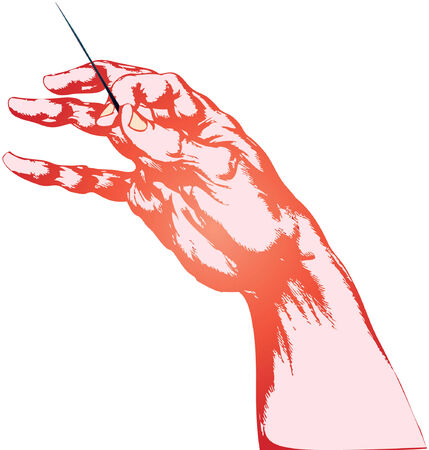 truncated: The truncated human hand is holding a needle Illustration