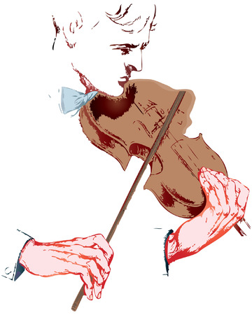 truncated: truncated human hands is playing the violin