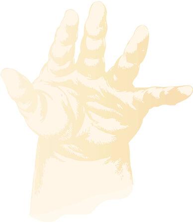 suckling: troncato la mano di un bambino lattante Vettoriali