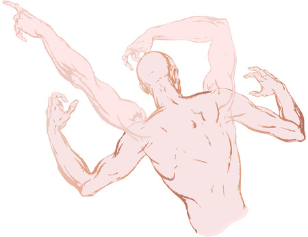 truncated: the isolated drawing of a truncated human body