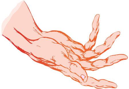 il disegno isolato di una mano umana aperta Archivio Fotografico - 4507488