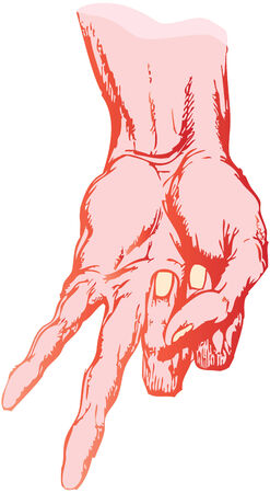 truncated: the isolated drawing of a truncated human hand Illustration