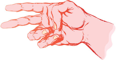 dactylology: the isolated drawing of a truncated human hand Illustration