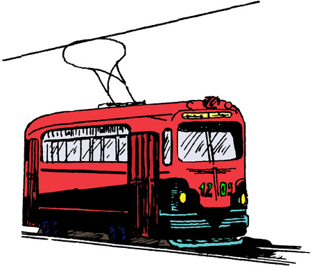 tramline: the cute drawing of a street railway Illustration